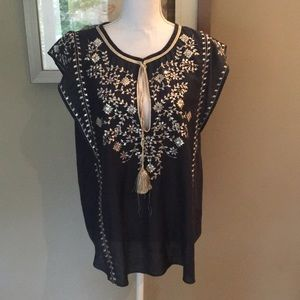 Calypso St. Barth Navy and Gold Sequin Tunic Top